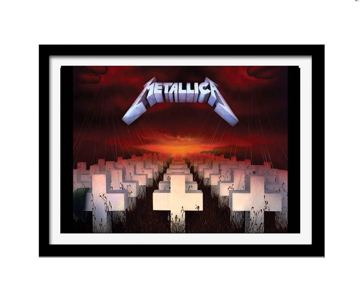 Quadro Metallica mdf 33x25 moldura preto