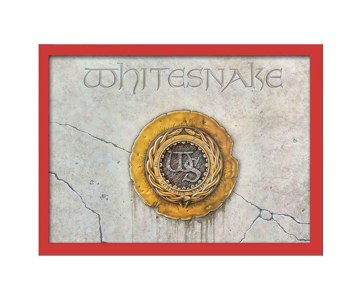 Quadro Whitesnake Album 33x25 moldura vermelho