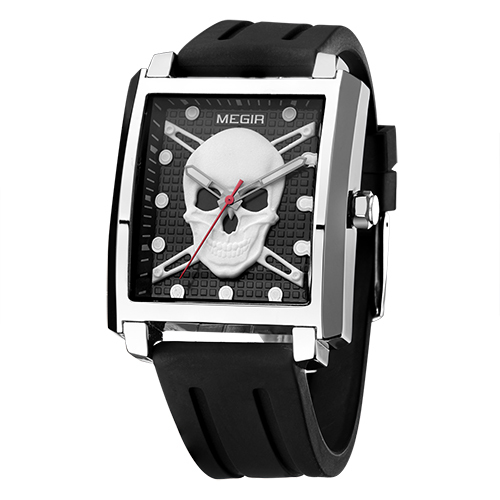 Relógio Skull Luminoso II Prata