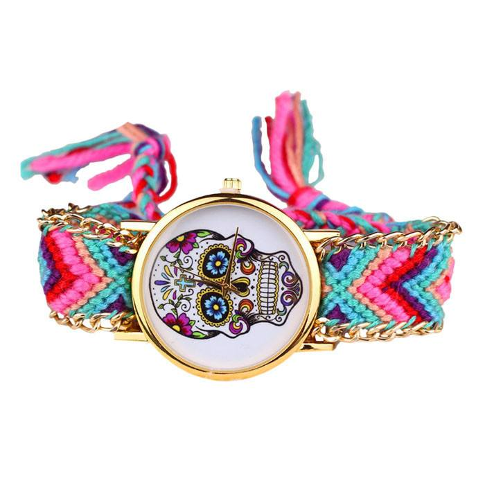 Relógio Skull Mexicana - Crochê Colors - SkullAchando