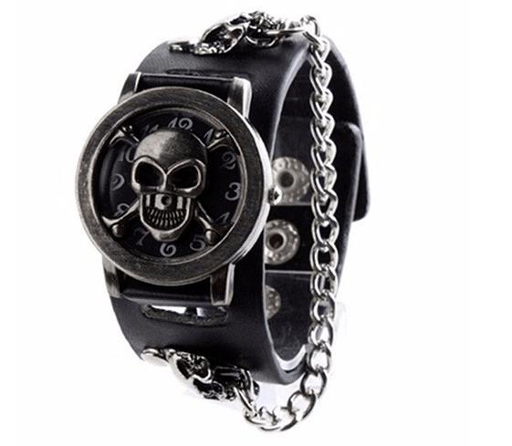 Relógio Skull Pulseira Corrente II Prata – SkullAchando