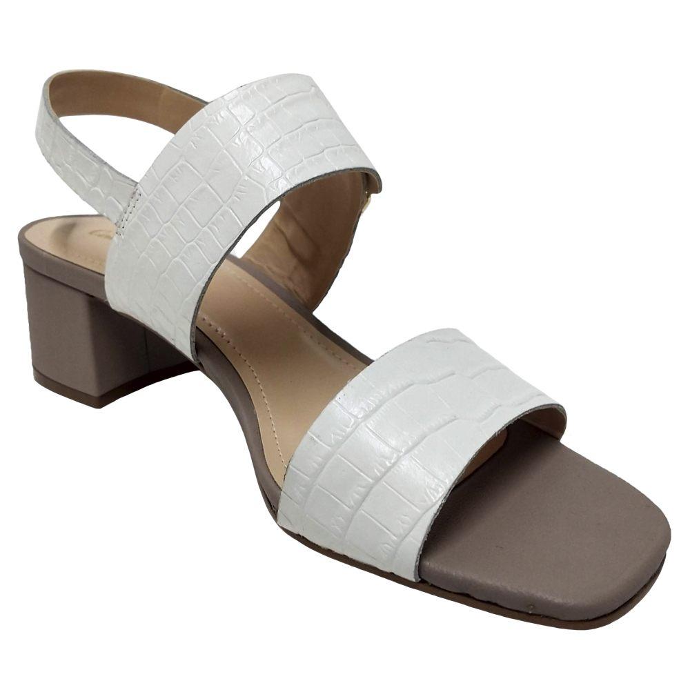Sandália Salto Grosso Croco Branco Feminino