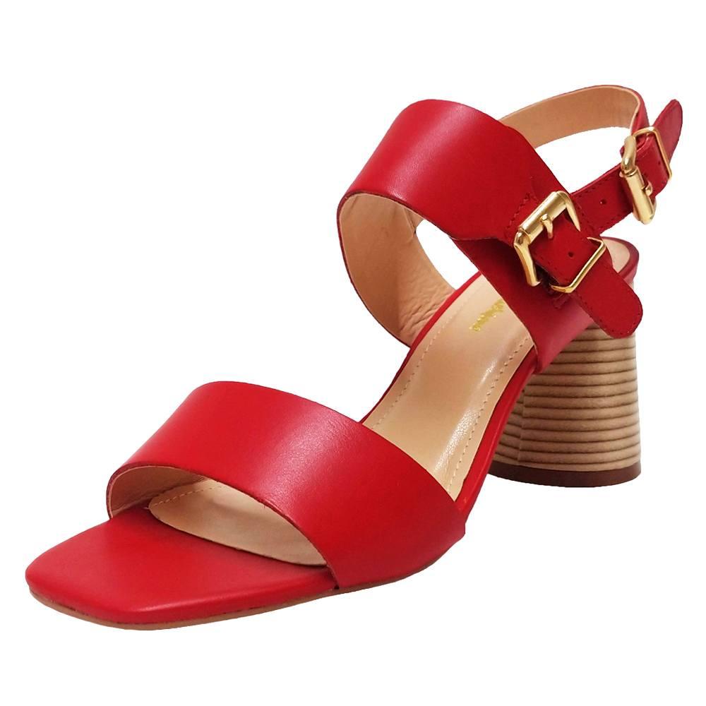 Sandália Salto Grosso Napa Vermelho Feminino