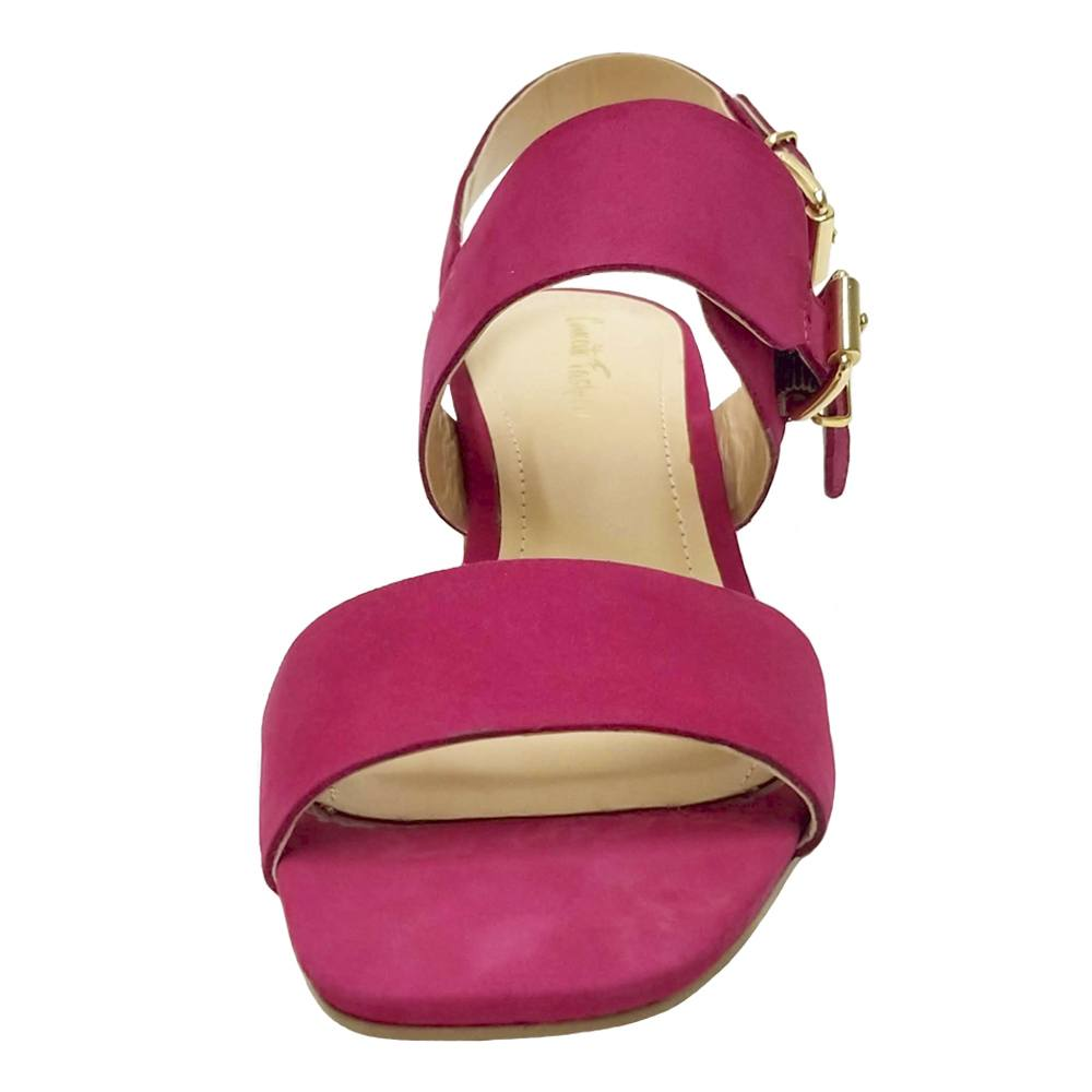 Sandália Salto Grosso Nobuck Pink Feminino
