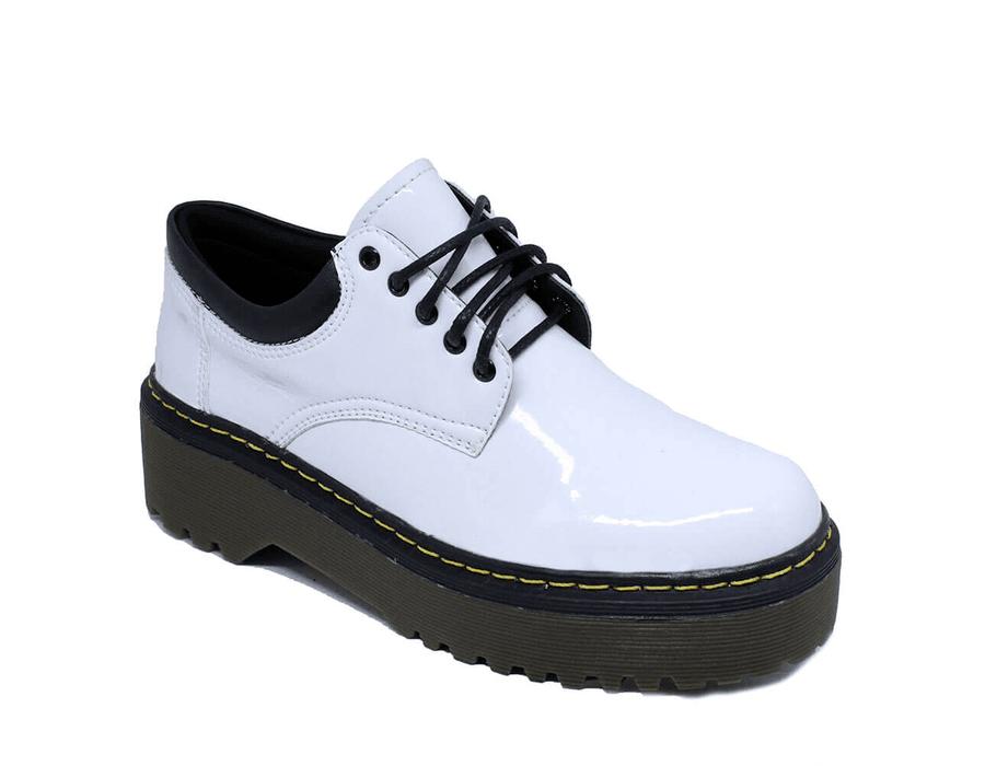Sapato Colegial Inglês Verniz Branco - Estilo Veggie Shoes