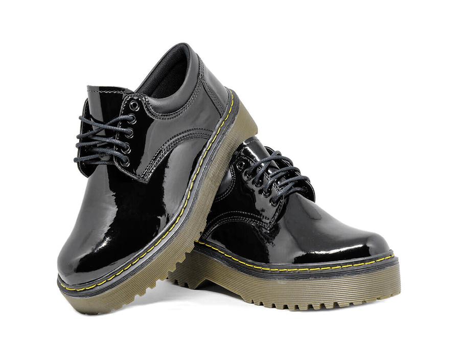 Sapato Colegial Inglês Verniz Preto - Estilo Veggie Shoes