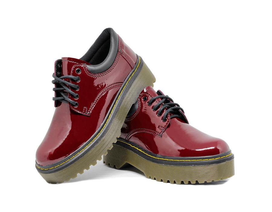 Sapato Colegial Inglês Verniz Vinho - Estilo Veggie Shoes