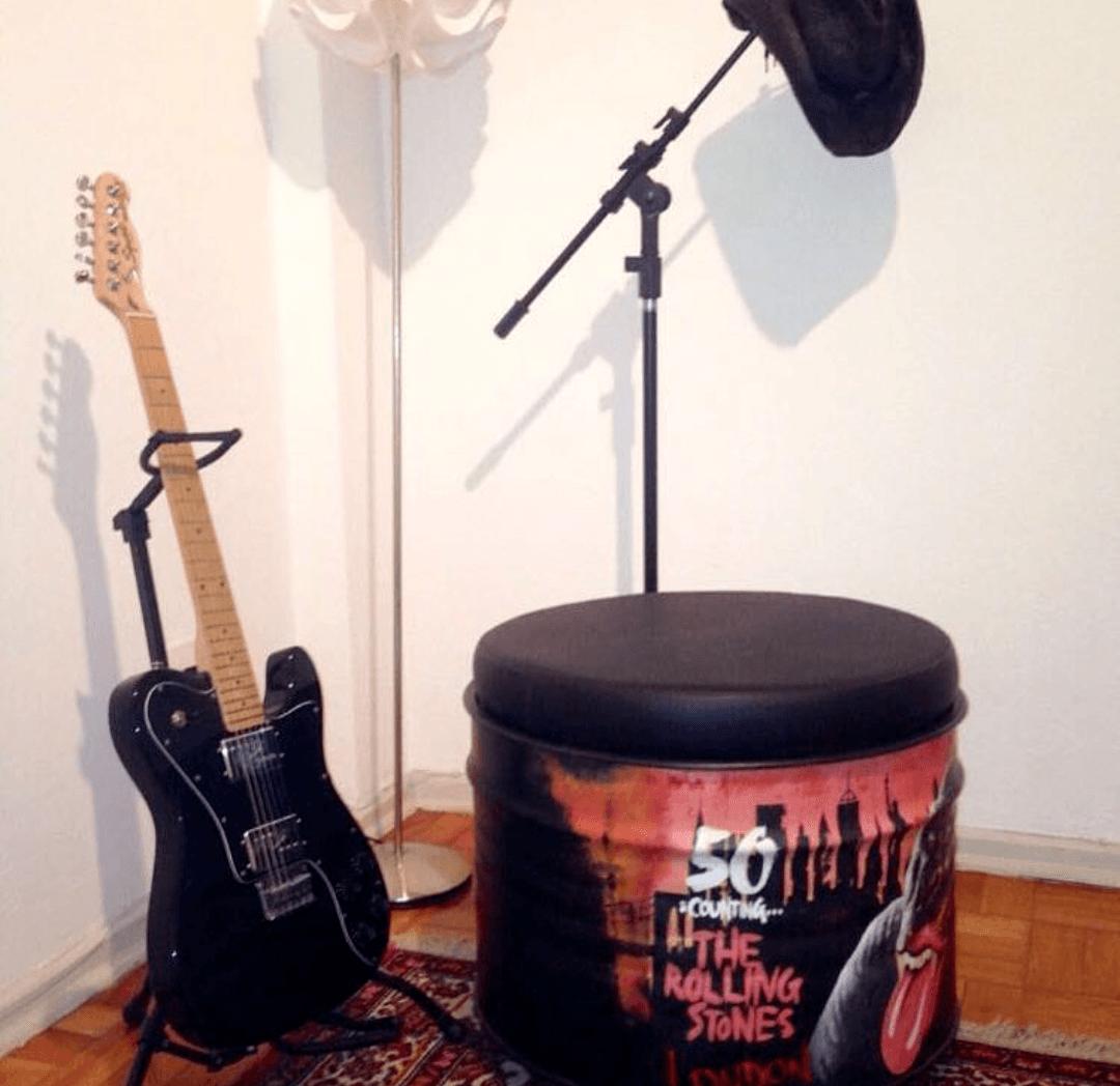 Tambor Decorativo Puff Rolling Stones