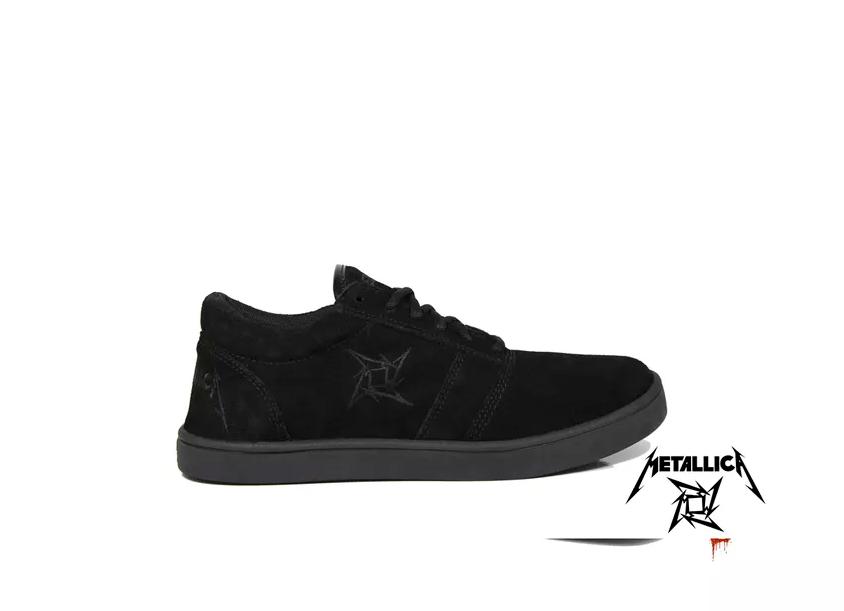 Tênis BandShoes Masculino Cano Baixo Preto Metallica