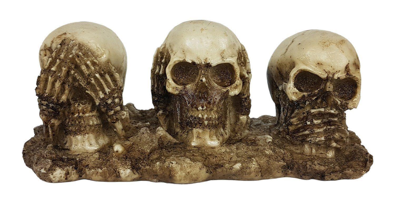 Trio De Crânios Sábios Cego Surdo Mudo Resina Decorativo
