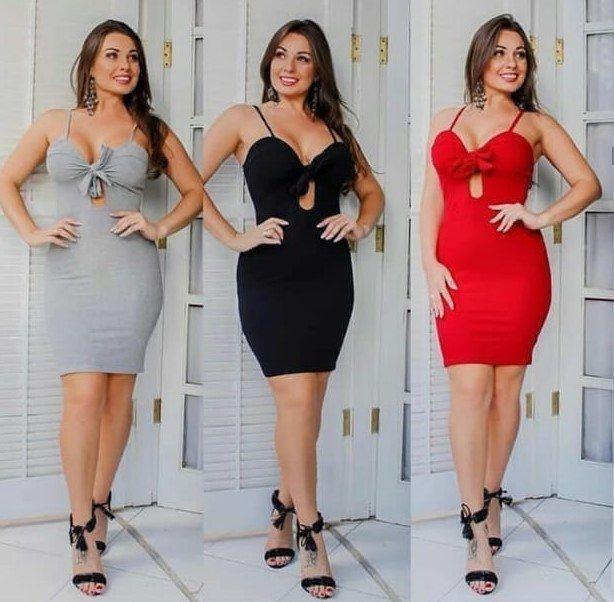 Vestido Canelado de Amarrar Blogueira