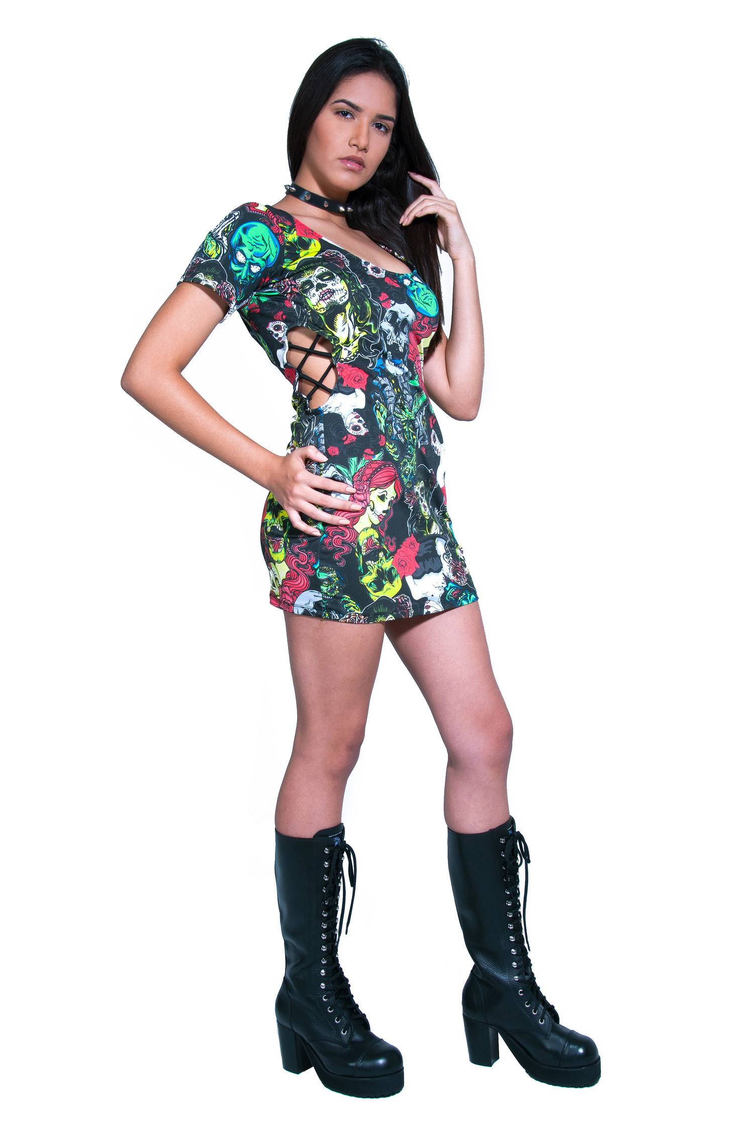 Vestido de Caveiras Zumbis com Manga Rock Road