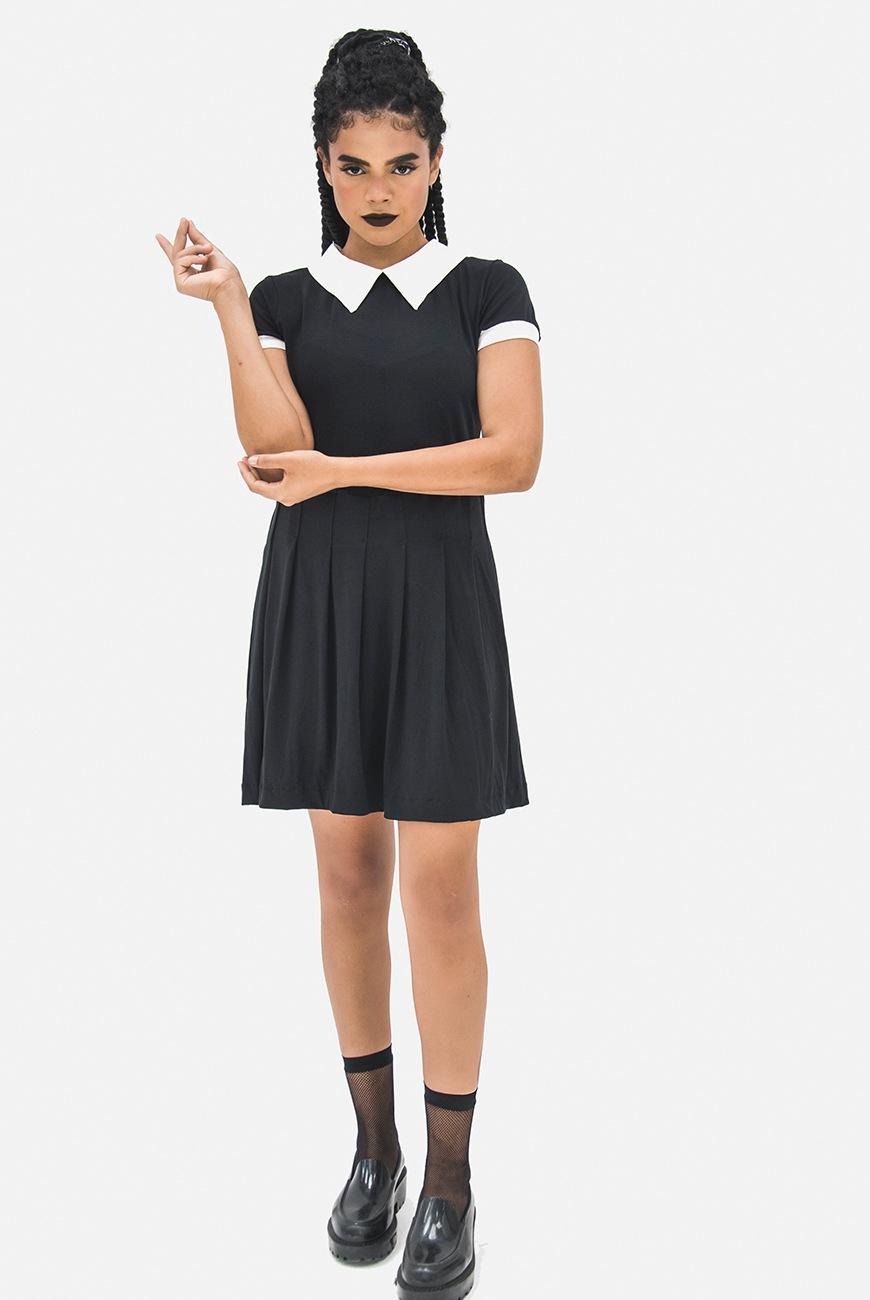 Vestido Doll Preto Manga Curta