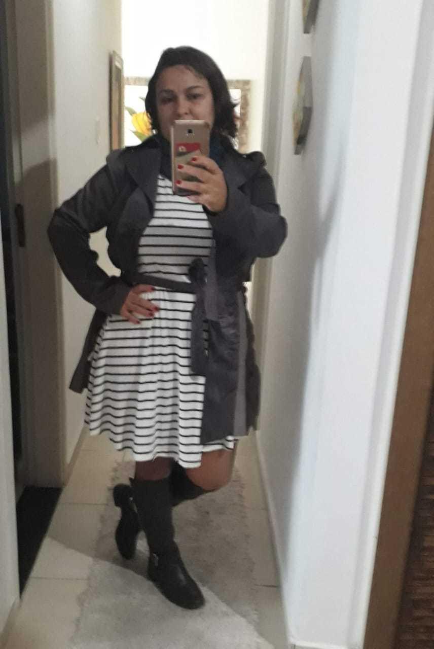 Vestido Plus Size Amplo Listrado