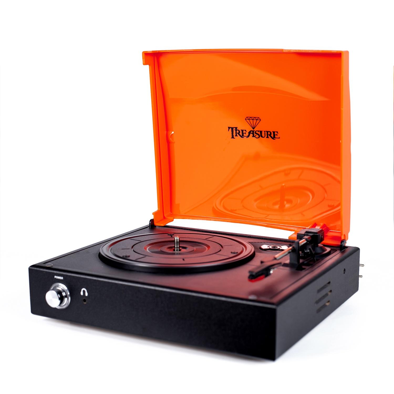 Vitrola Toca Discos Baú Treasure - Preto/Laranja com software de gravação para MP3 Echo Vintage