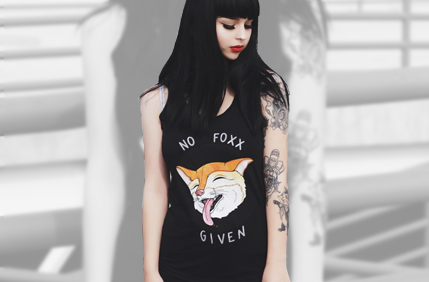 Amanda Foxfell Custom No Fox Women's Racer Back Tee Shirt in Black - If you follow me you know the sly smile on that fox's face, and you also know that I live by two simple rules: to always express myself unapologetically and to never care about what others think of it! No Foxx Given, EVER!