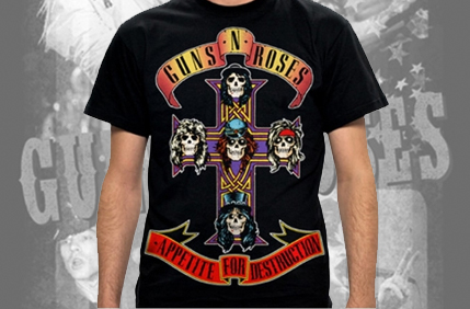 Guns N Roses AFD Jumbo Men's T-Shirt - This men's T-shirt in black, features a large version of the bands iconic artwork of their 1987 debut studio album release, 'Appetite For Destruction'.