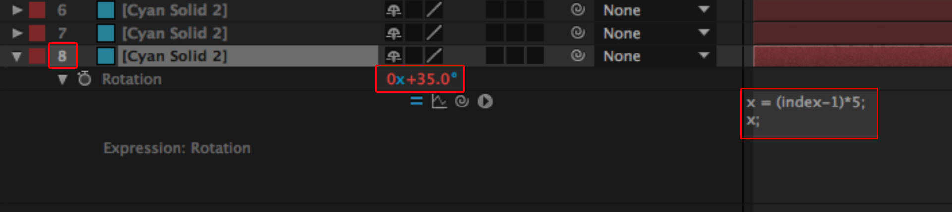 Index Expression in After Effects: Setting start values, step 2