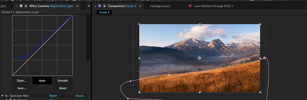 Compositing Fog in After Effects: Step 4 - Masking the Adjustment Layer