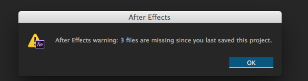 After effects Errors and How to Fix Them: missing files