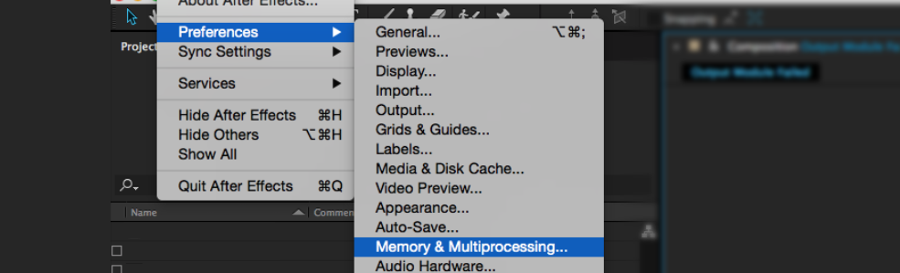 After effects Errors and How to Fix Them: Multiprocessing Dropdown