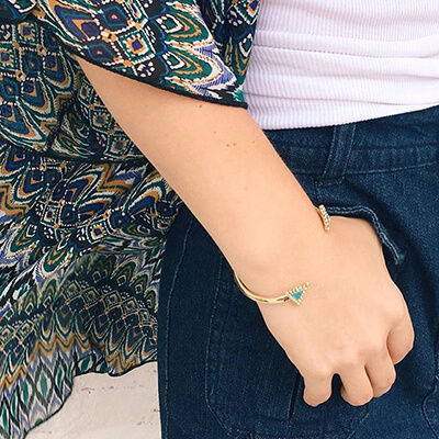 Rocksbox Member wearing a House of Harlow 1960 Native Legend Cuff in Turquoise.