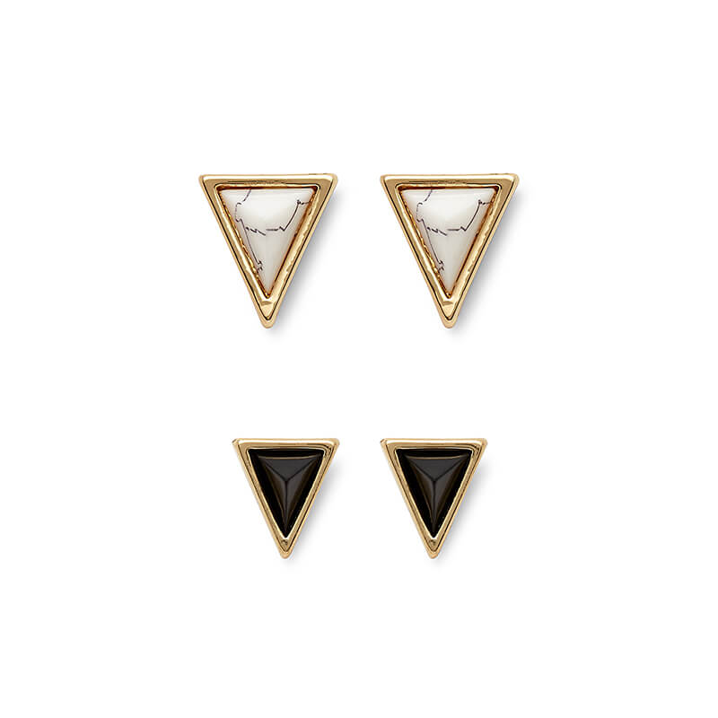 Meteora Triangle Studs Set in Howlite & Black