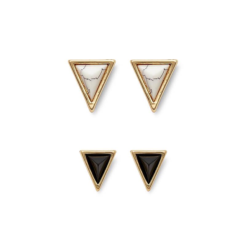 Meteora Triangle Studs Set in Howlite & Black