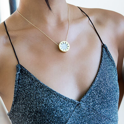 Browse house of harlow 1960 jewelry at rocksbox mini sunburst pendant necklace in white madagascar agate mozeypictures Choice Image