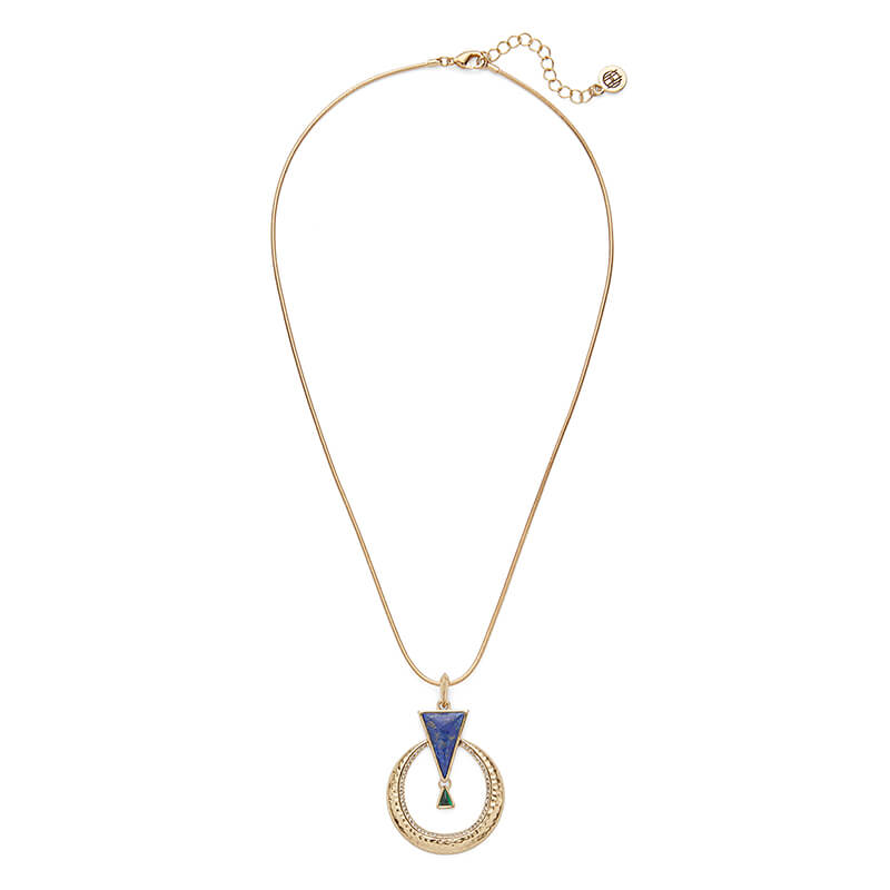 Hymn to Selene Pendant Necklace in Lapis and Malachite
