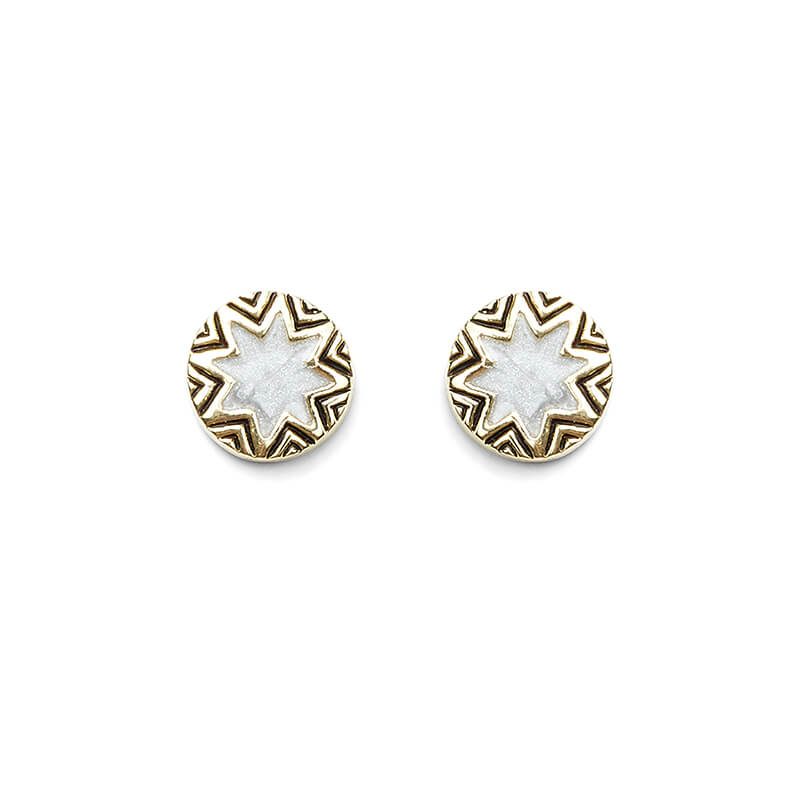 Enameled Engraved Mini Sunburst Stud Earrings in Gold and Grey