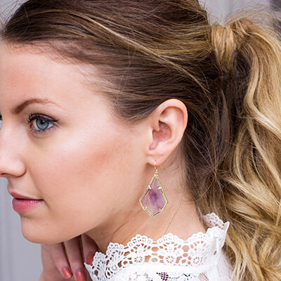 Rocksbox Member wearing Kendra Scott Alex Earrings in Amethyst