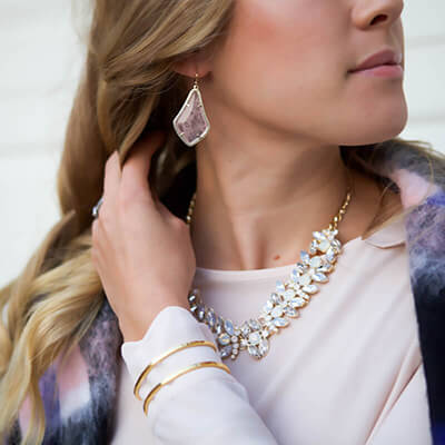 Rocksbox Member wearing Kendra Scott Alex Earrings in Rose Quartz