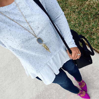 Rocksbox Member wearing a Kendra Scott Rayne Necklace in Slate.