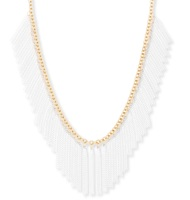 Model Content for SLATE White Chain Fringe Necklace