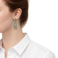 Model Content for House of Harlow 1960 Peak to Peak Fringe Earrings in Turquoise