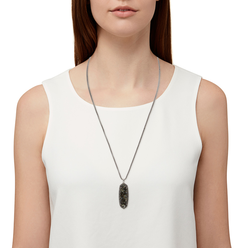 Model Content for Kendra Scott Layden Necklace in Crushed Black Mother of Pearl