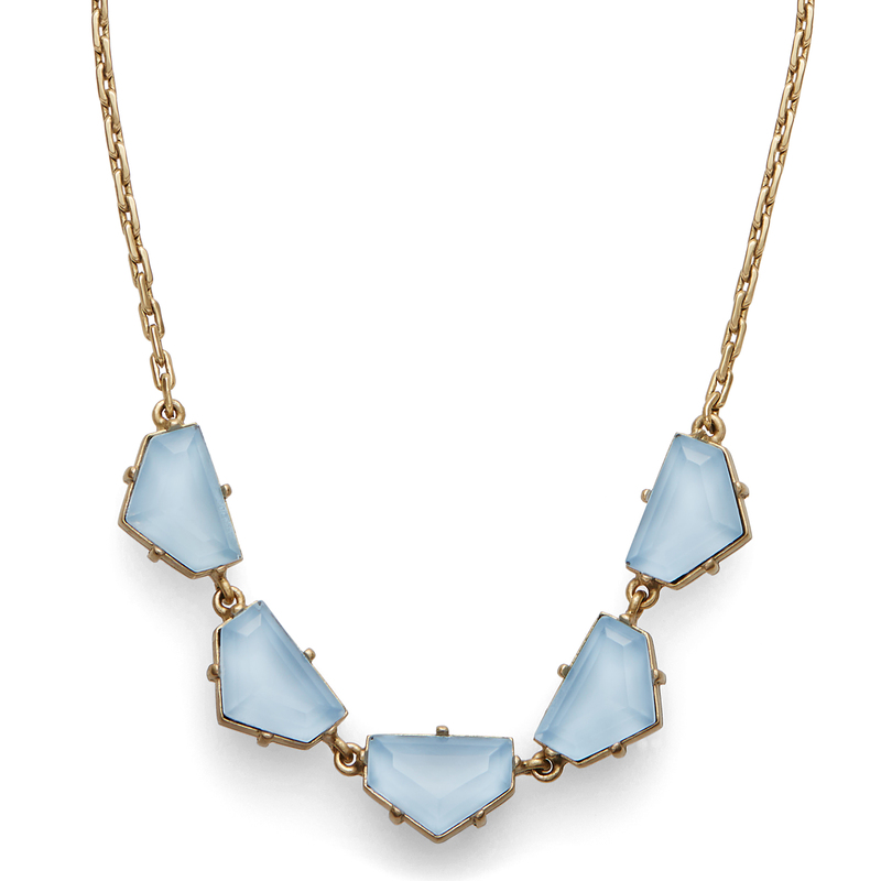 Model Content for Loren Hope Chevron Statement Necklace in Powder Blue