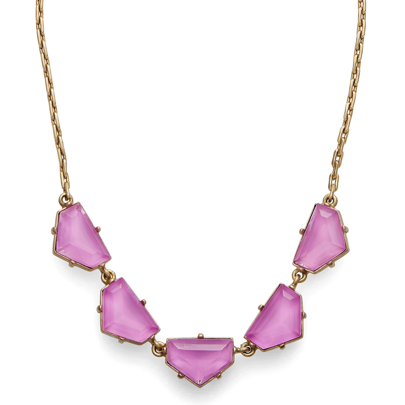 Model Content for Loren Hope Chevron Statement Necklace in Electric Purple