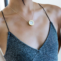 User Generated Content for House of Harlow 1960 Mini Sunburst Pendant Necklace in White Madagascar Agate