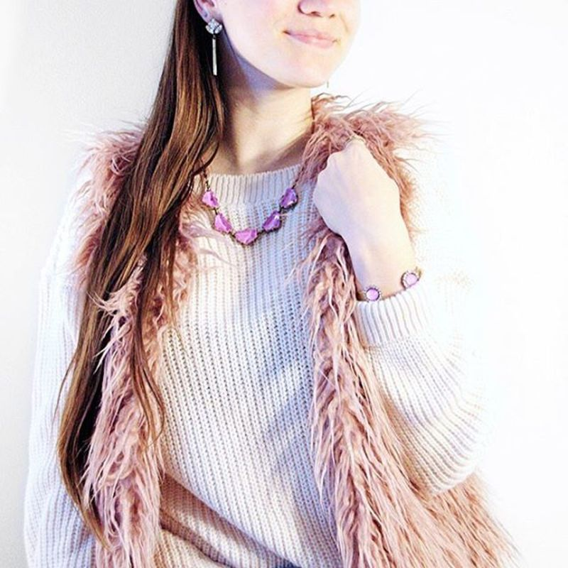 User Generated Content for Loren Hope Chevron Statement Necklace in Electric Purple