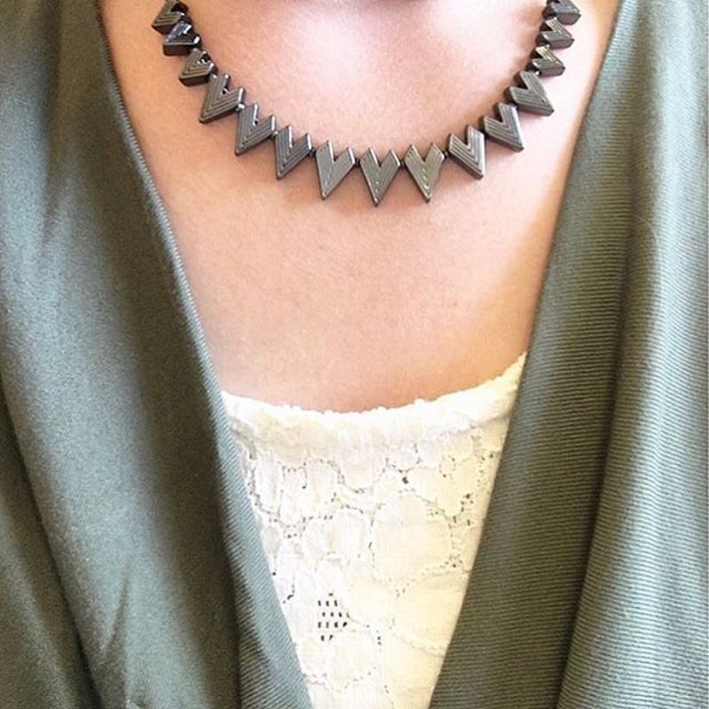User Generated Content for SLATE Engraved Triangle Necklace in Gunmetal