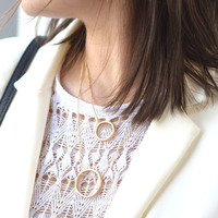 User Generated Content for SLATE Double Drop Circular Pendant Necklace in Gold