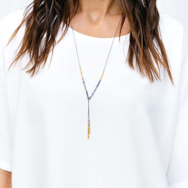 User Generated Content for Gorjana Power Gemstone Necklace in Gold and Iolite