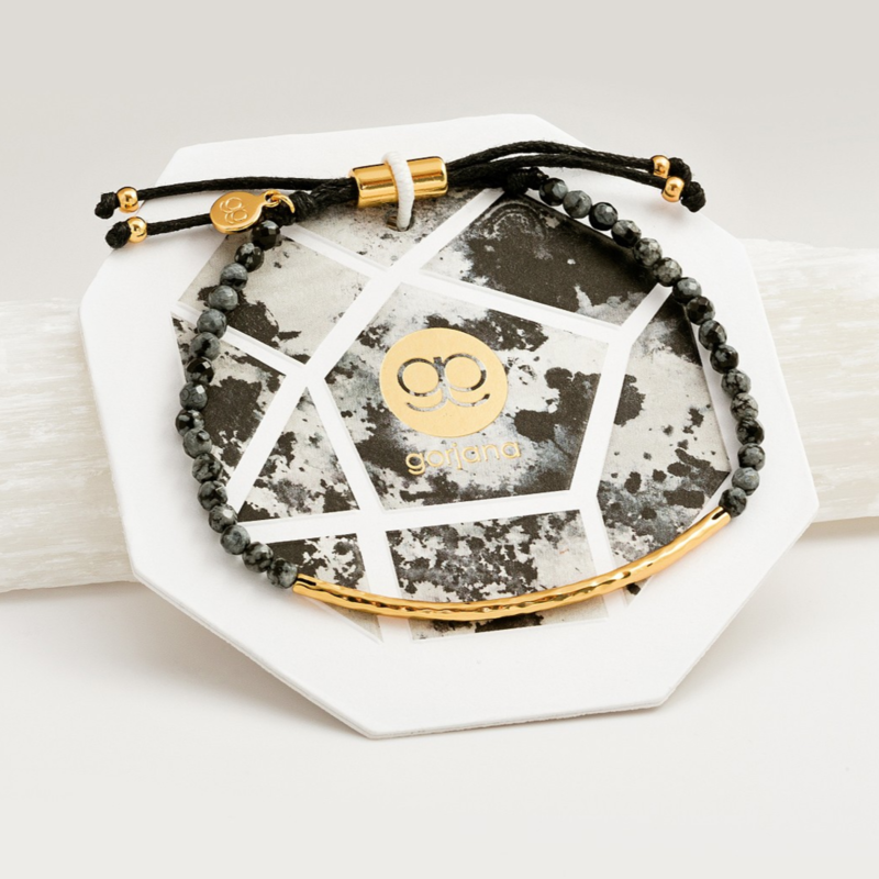 User Generated Content for Gorjana Power Gemstone Bracelet in Gold and Snowflake Obsidion