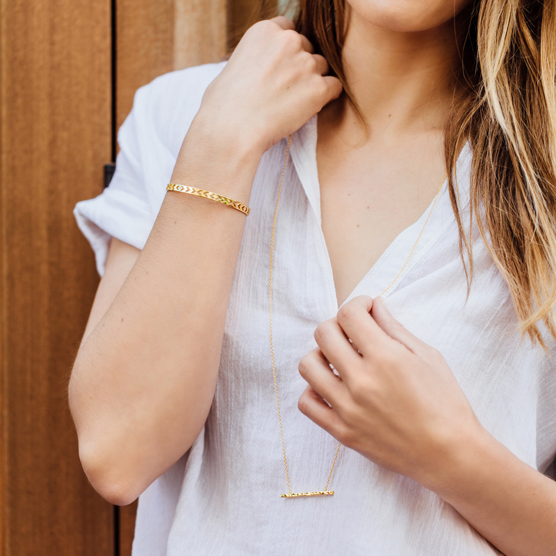 User Generated Content for Gorjana Mave Hammered Double Pendant Necklace in Gold