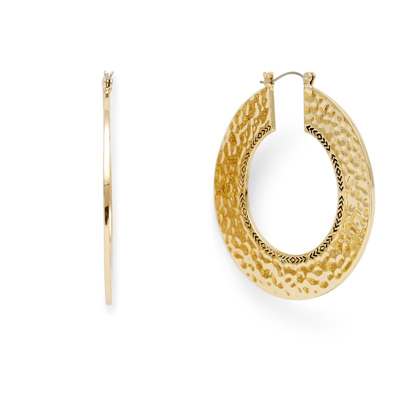 Model Content for House of Harlow 1960 Helicon Hoop Earrings in Gold
