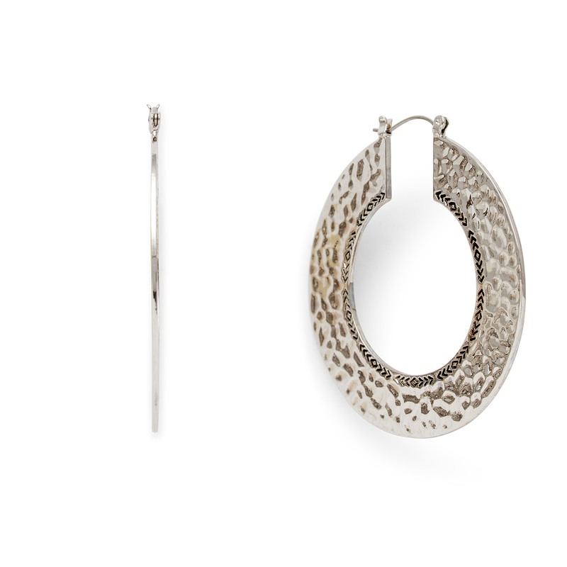 Model Content for House of Harlow 1960 Helicon Hoop Earrings in Silver