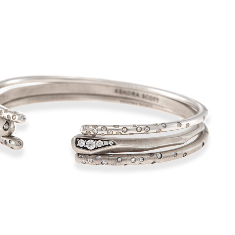 Model Content for Kendra Scott Zorte Bangles in Antique Silver with Pavé