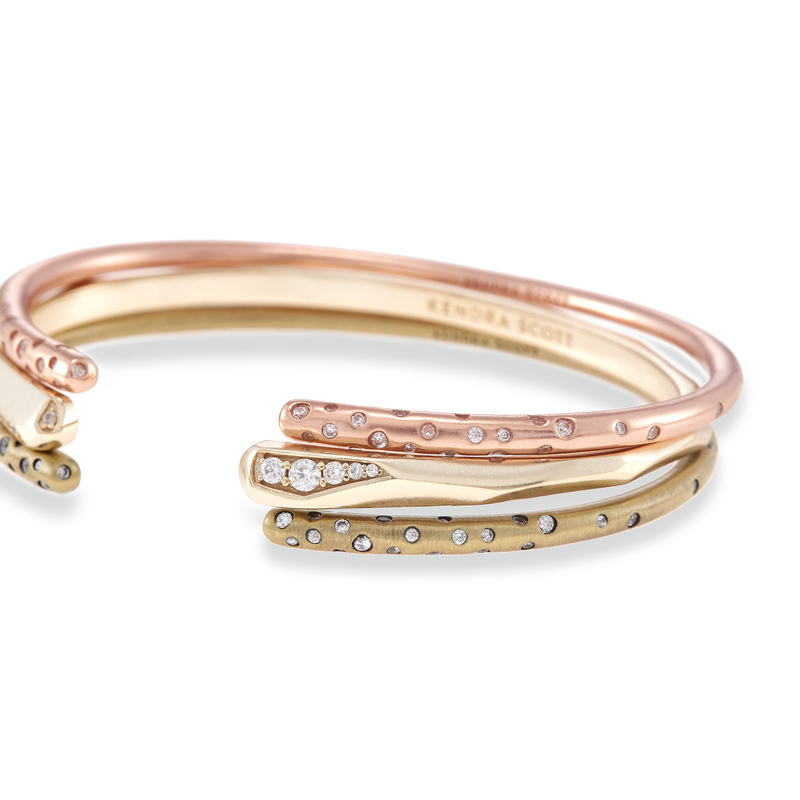 Model Content for Kendra Scott Zorte Bangles in Mixed Metals with Pavé
